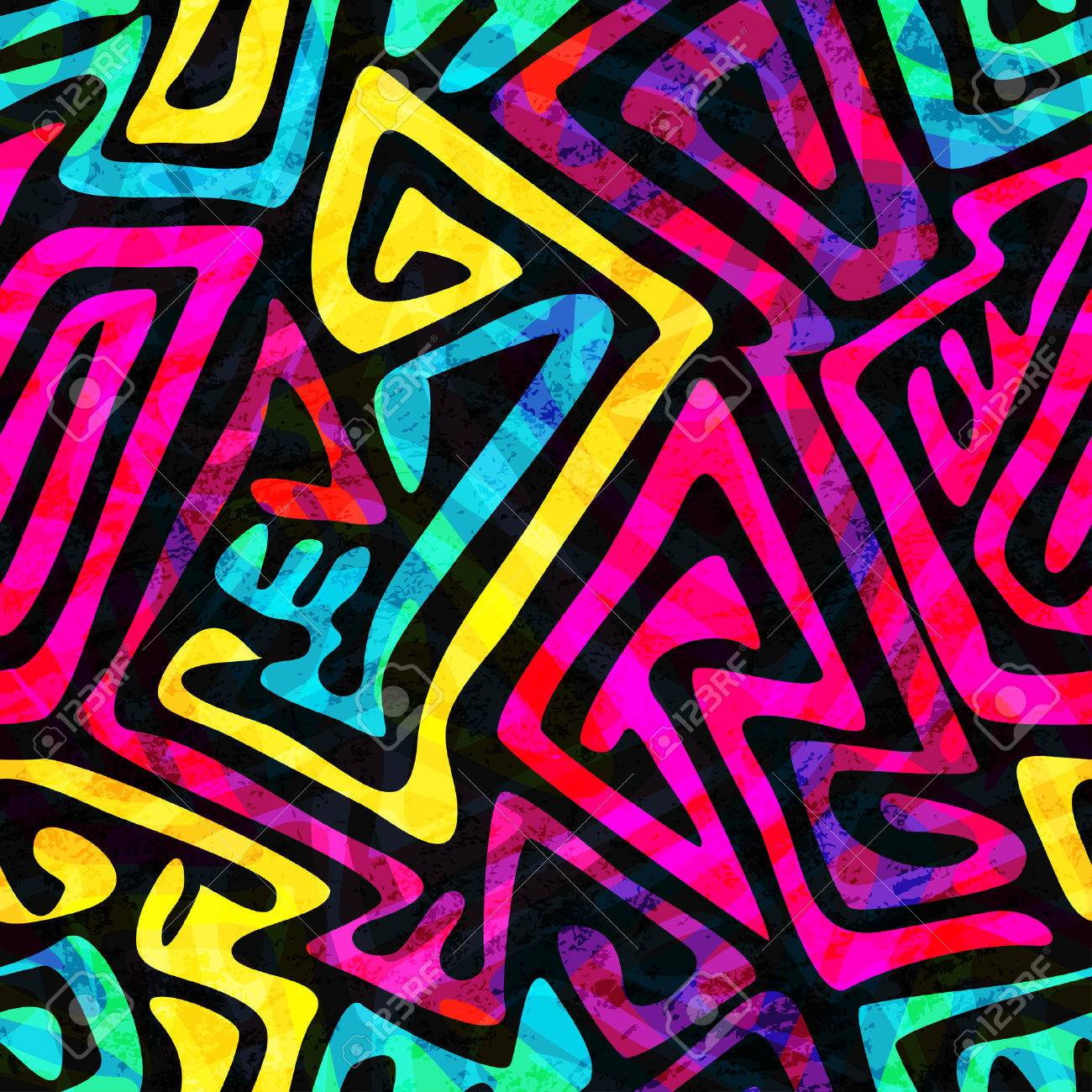 psychedelic seamless pattern with grunge effect - 37267328