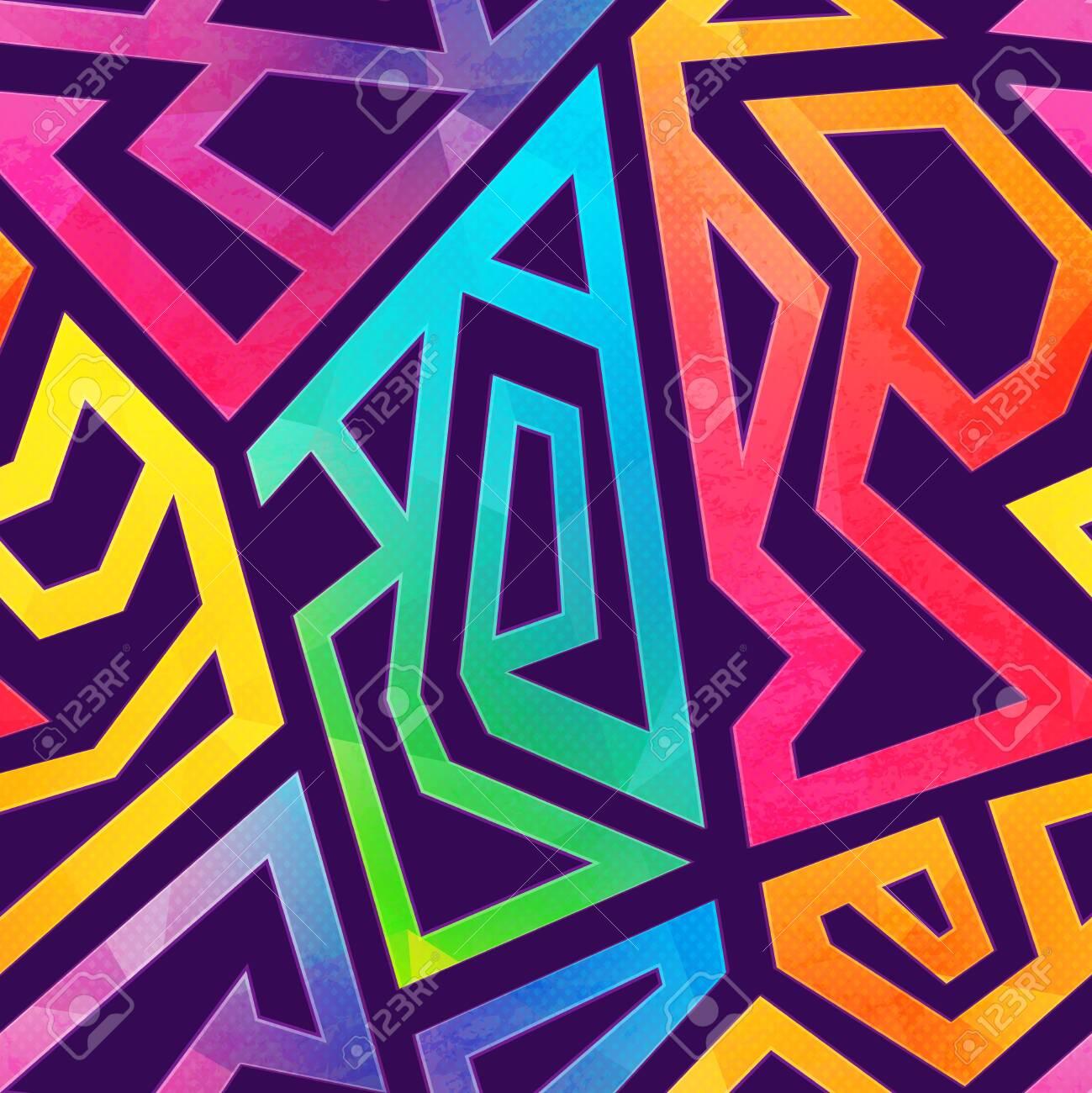 Graffiti geometric pattern with grunge effect - 133467673