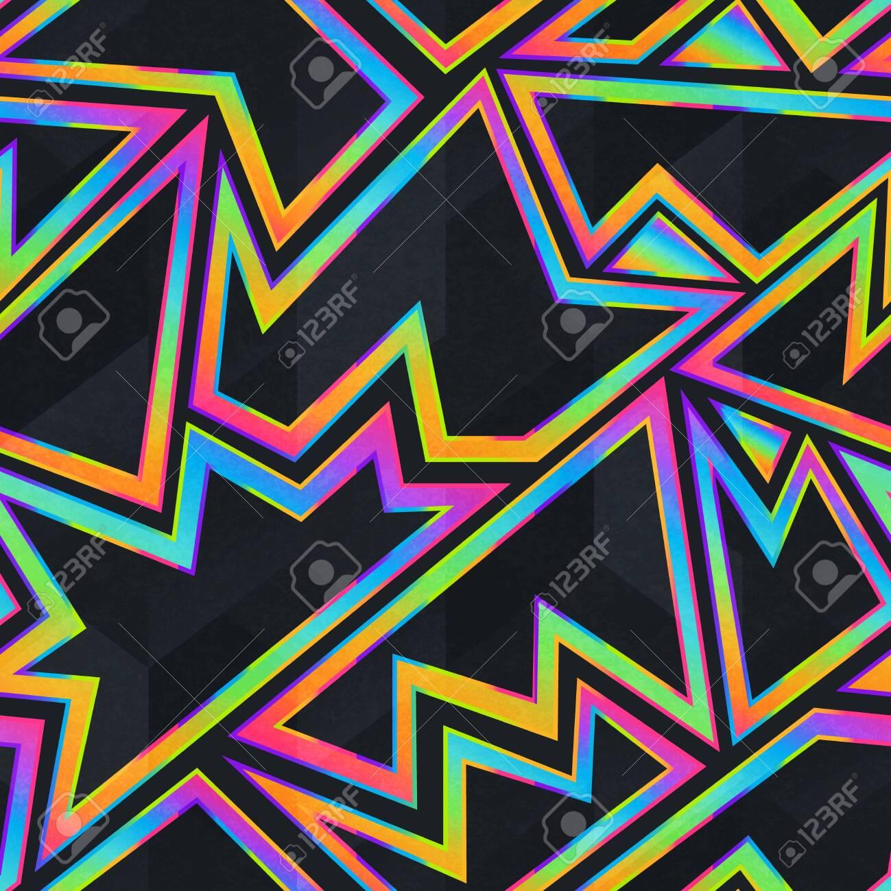 Bright neon geometric seamless pattern - 138512858