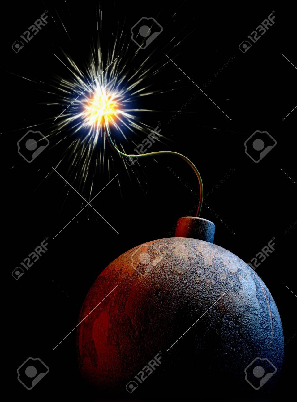 The planet earth as a bomb with burning fuse at a black background - 6344974