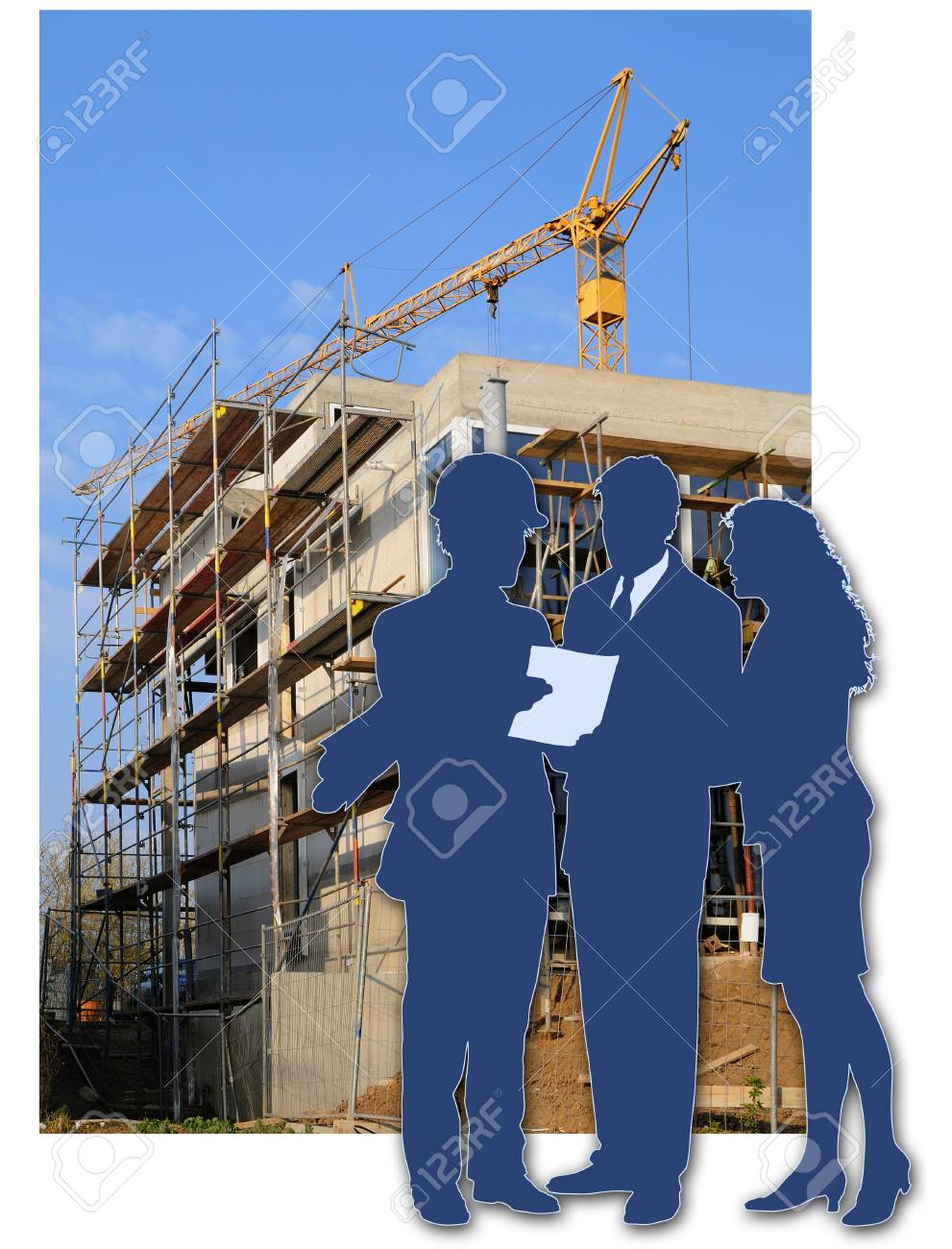 Architect and clients Building site with a house and the shade of the architect and the clients Stock Photo - 9022994