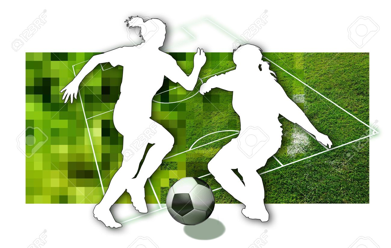 Soccer girls Silhouette of two female soccer players, a ball in black and white and parts of a football pitch Stock Photo - 9327078