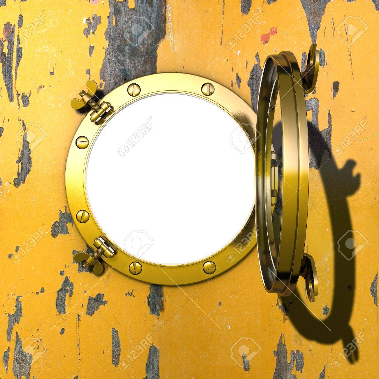Porthole Illustration of an open gilded porthole in a cabin wall with peeling yellow colour Stock Illustration - 10818040