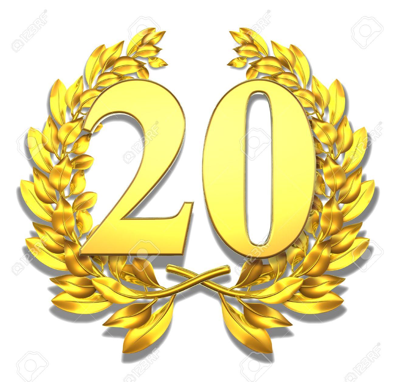 Numero Veinte De Oro Corona De Laurel Con El Numero Veinte En El