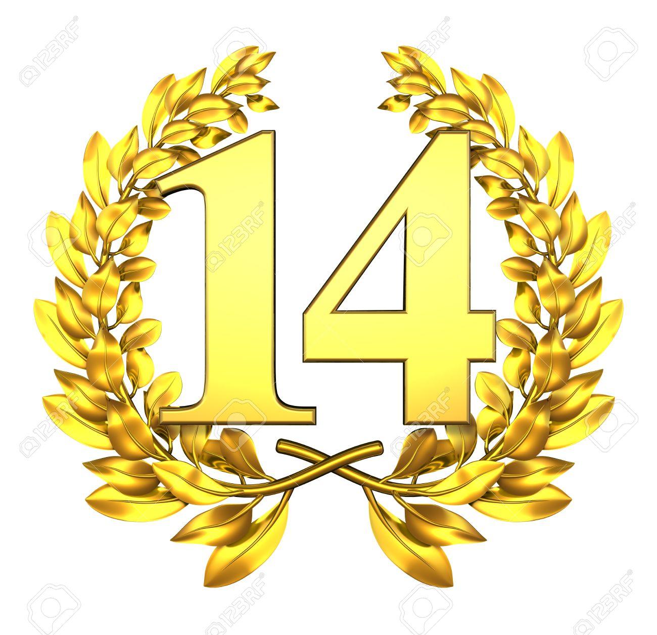 Εικόνες με αριθμούς! - Σελίδα 2 11791028-number-fourteen-golden-laurel-wreath-with-the-number-fourteen-inside
