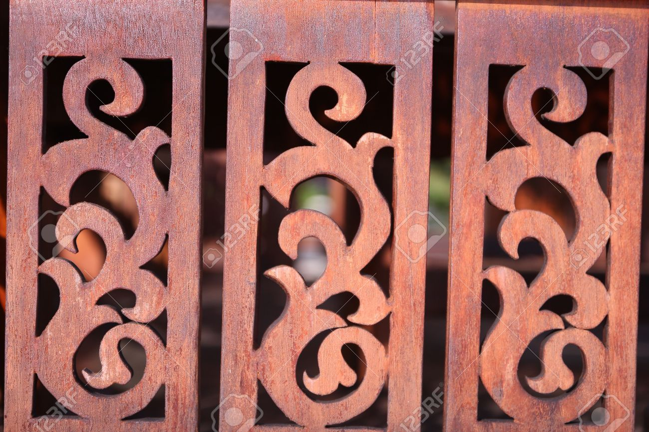 Thai style wood carving patterns stock photo picture and royalty