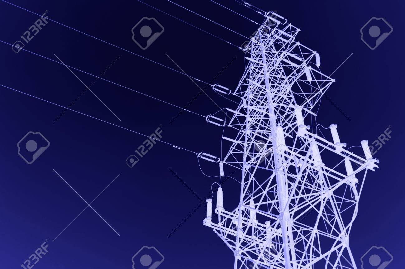 high voltage post.High-voltage tower sky background. Stock Photo - 12156393