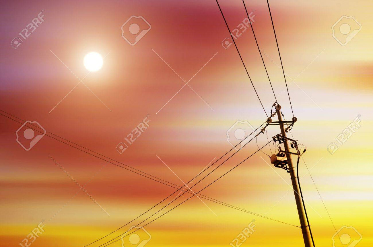 high voltage post High-voltage tower sky background Stock Photo - 13313699
