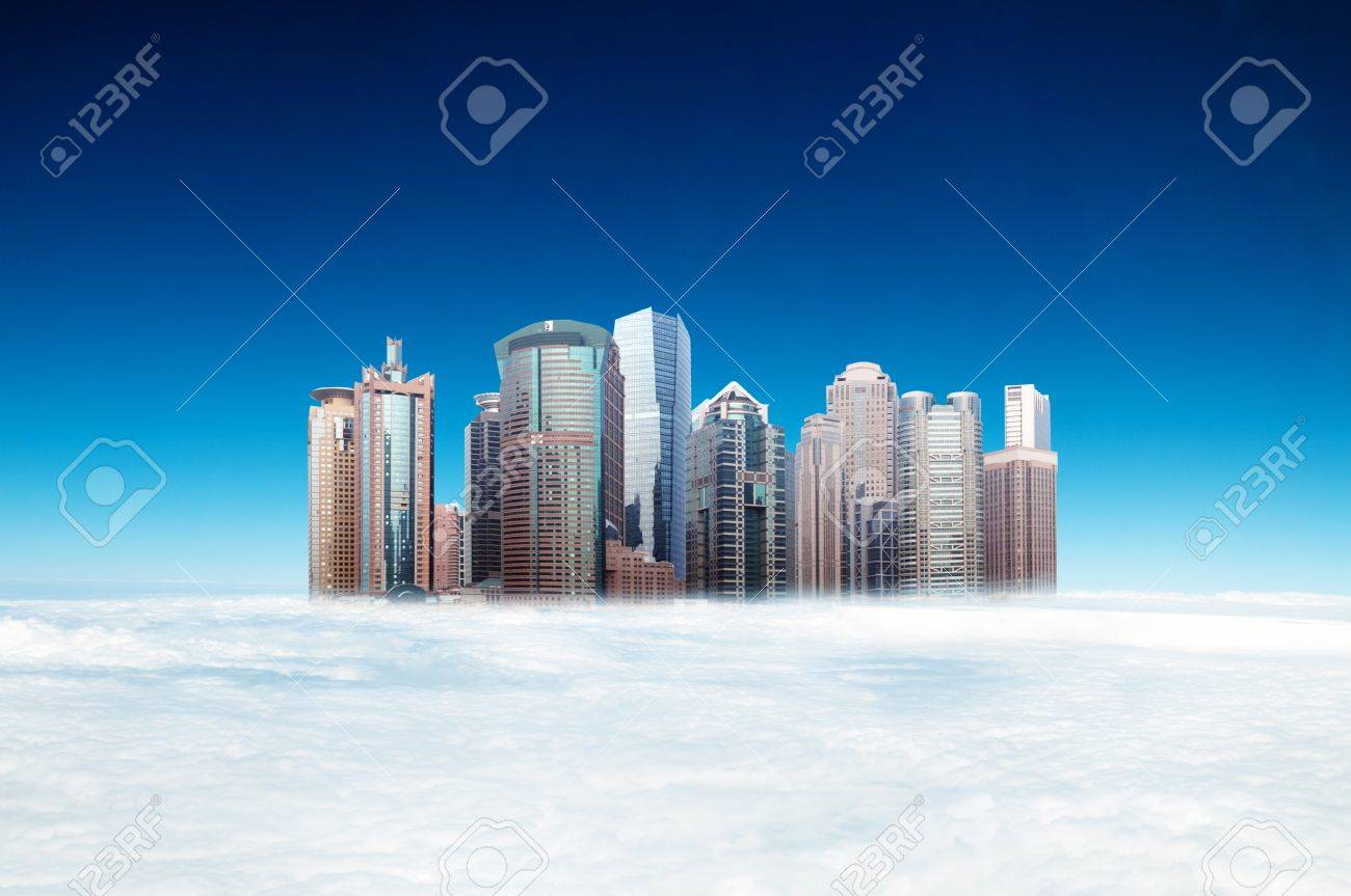 Higher than the clouds of skyscrapers, exaggerated performance Stock Photo - 19447202