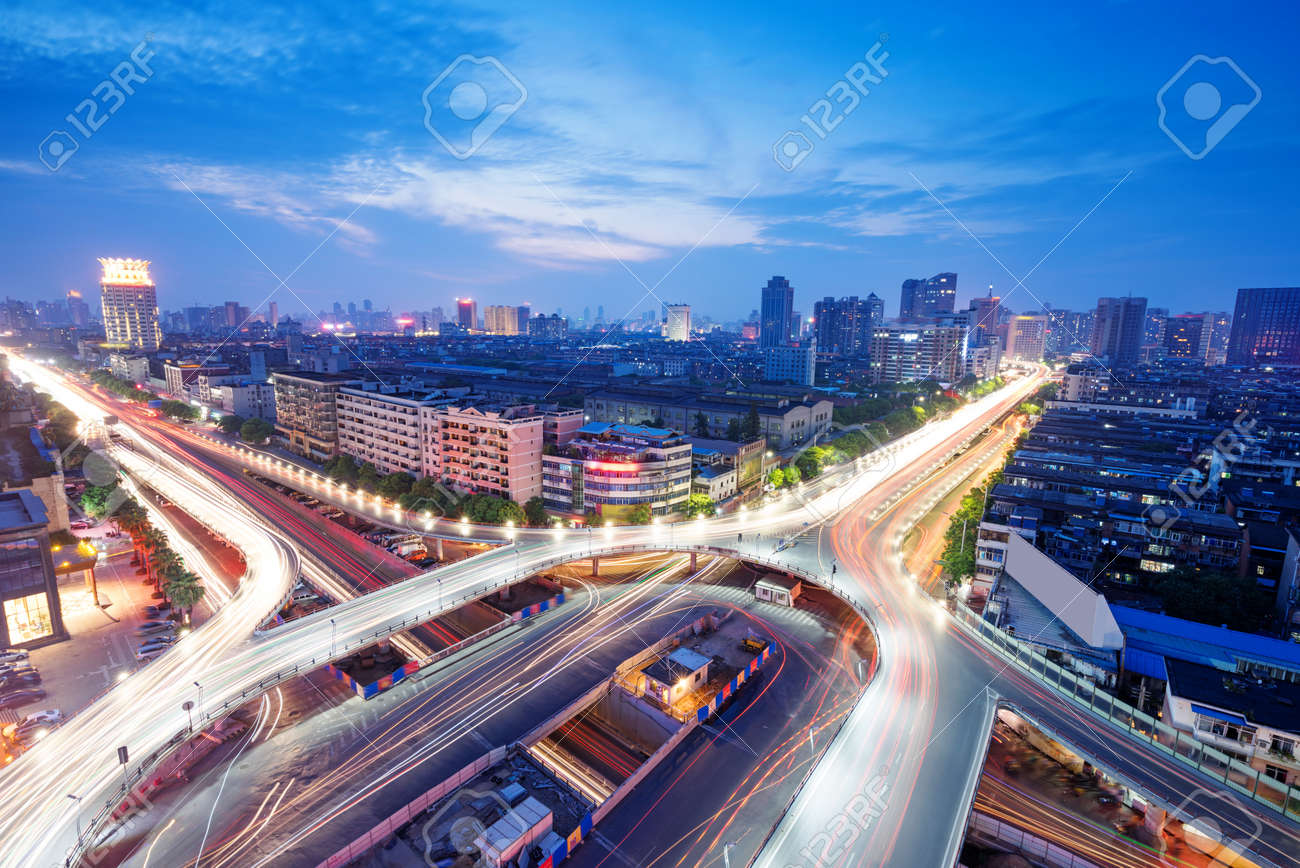 Overpass of the light trails, beautiful curves. - 139075941