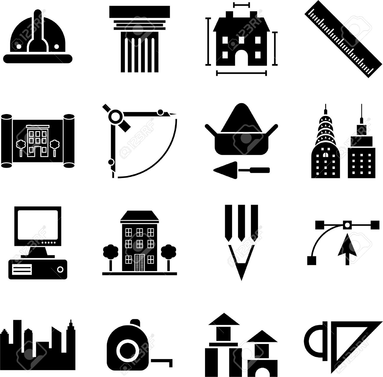 architecture and construction icons royalty cliparts vectors architecture and construction icons stock vector 23644281
