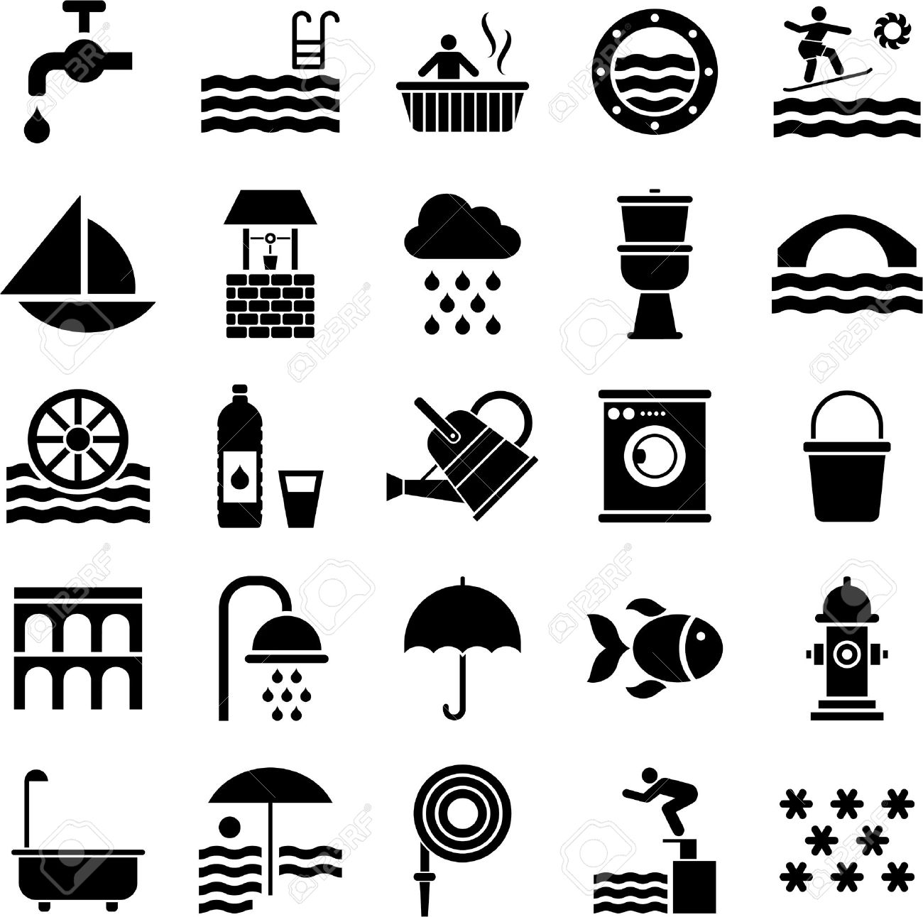 Set of icons related with water Stock Vector - 23284391