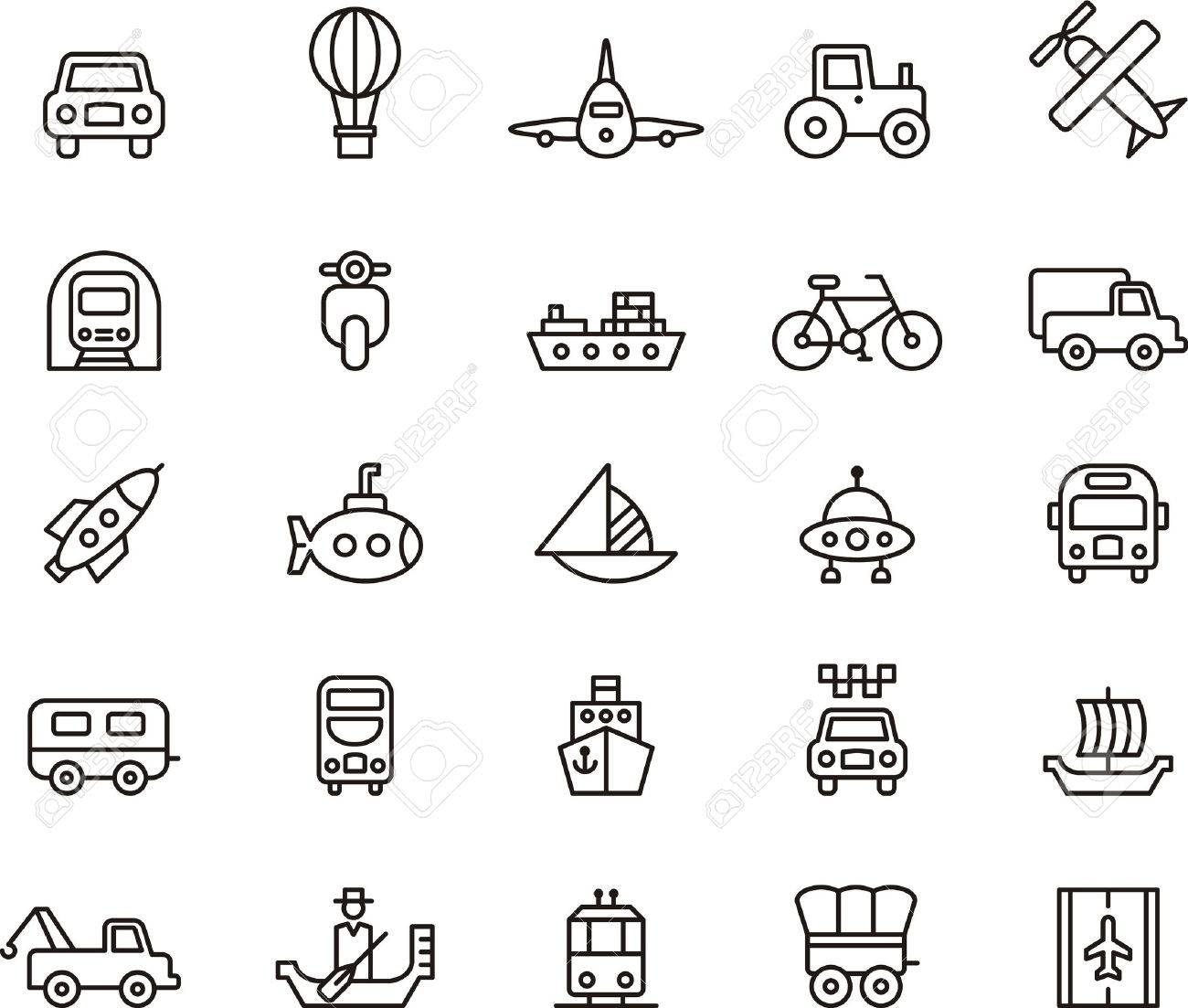TRANSPORT outlined icons Stock Vector - 45315508
