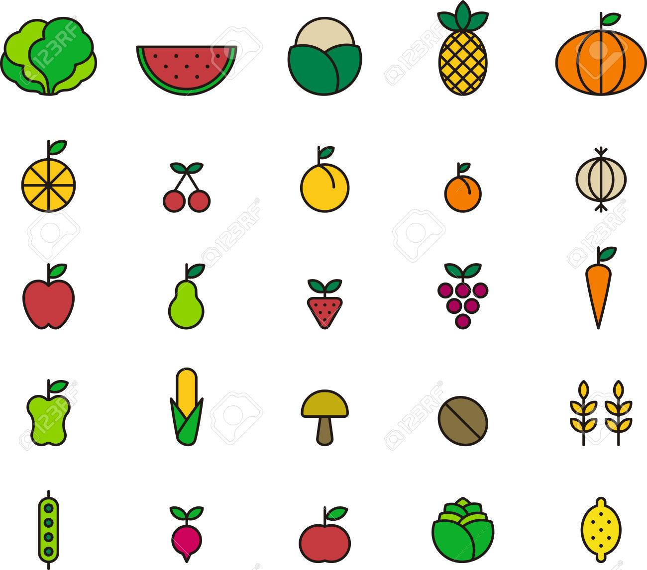 fruits u0026 vegetables colored outline icons royalty free cliparts