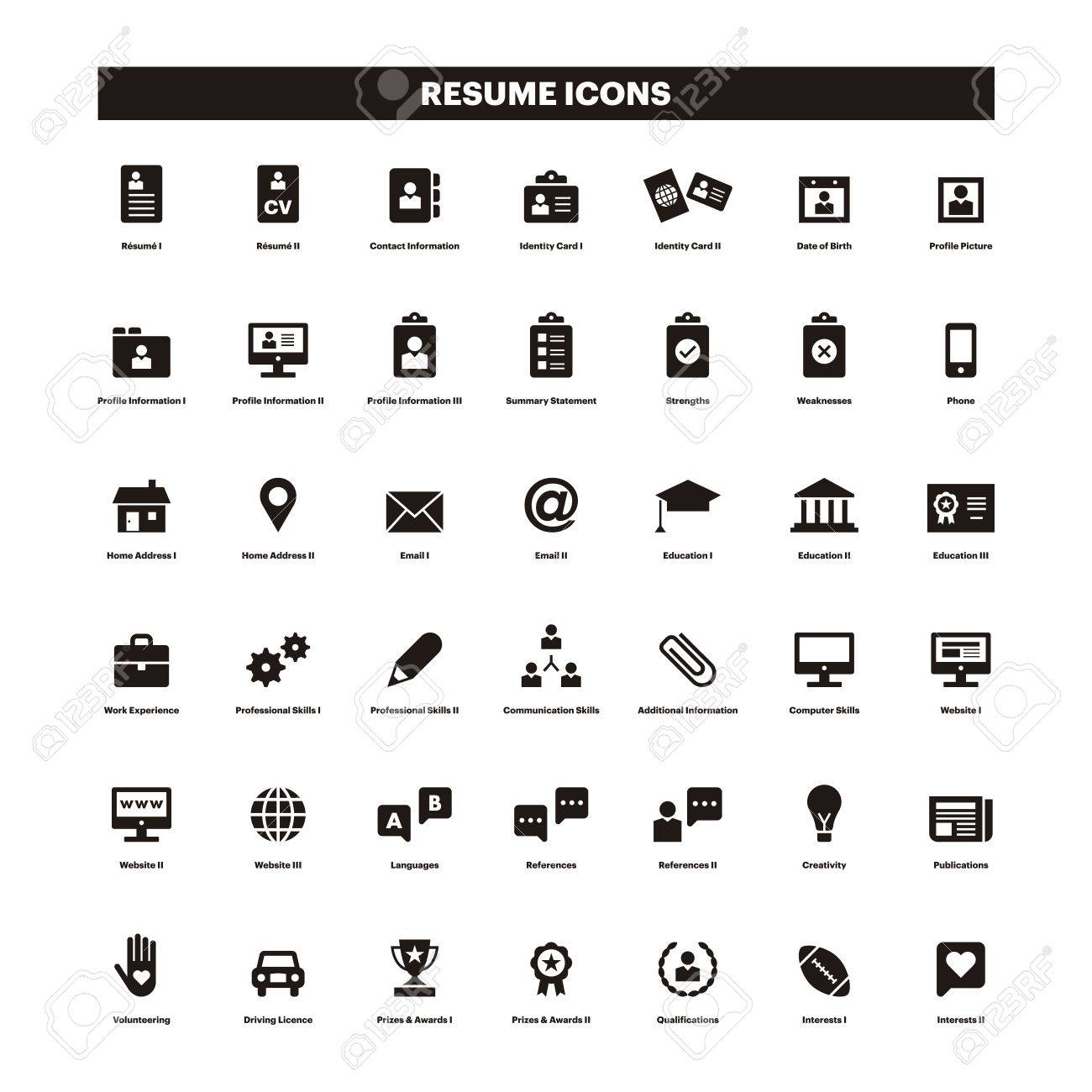 CV And Resume Black Solid Icons Royalty Free Cliparts, Vectors