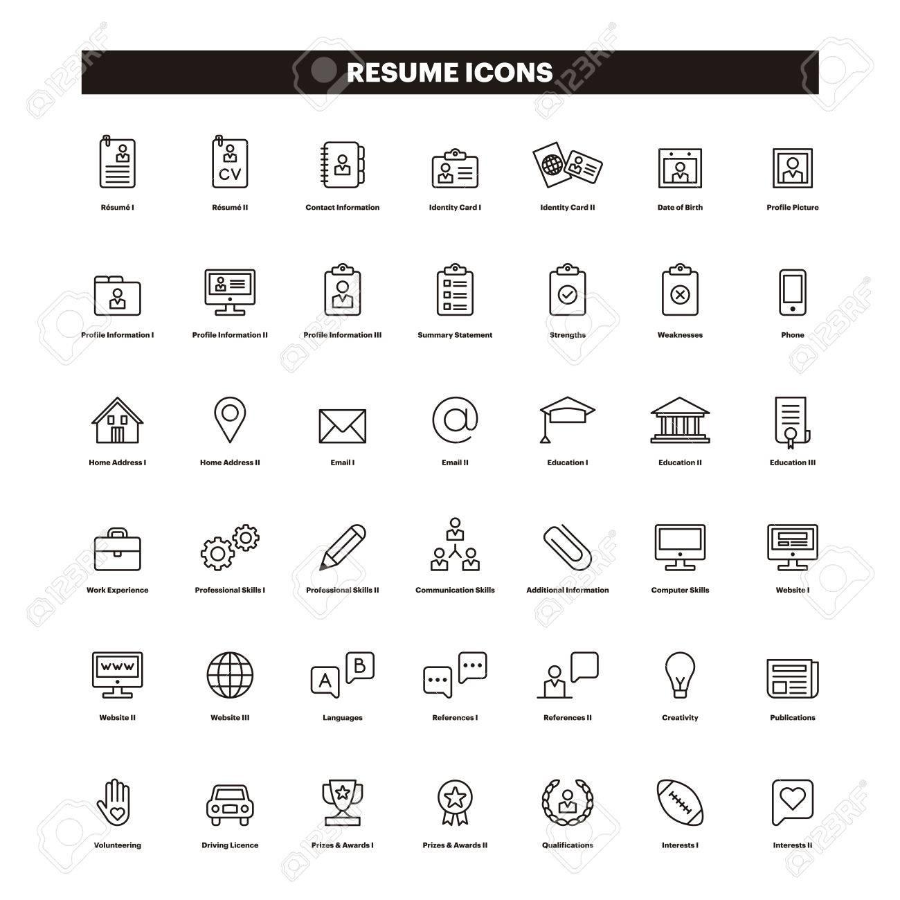 CV U0026 SUMMARY Outline Icons Stock Vector   78911489  Cv Summary