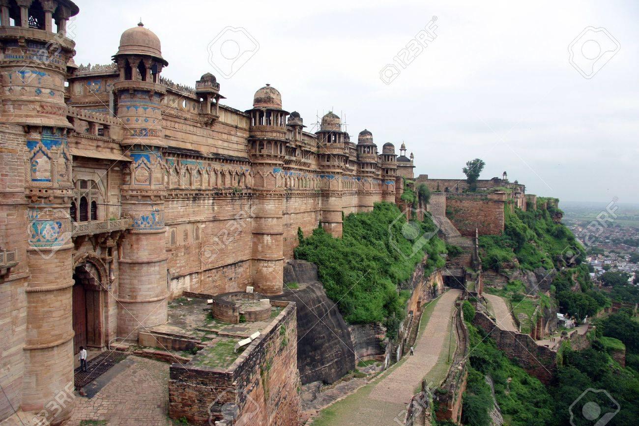Détail De Gwalior Fort Près De Agra Inde Banque Dimages Et Photos