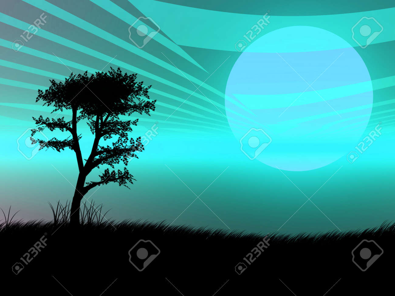 Tree silhouette against a very blue sunset Stock Photo - 1887220
