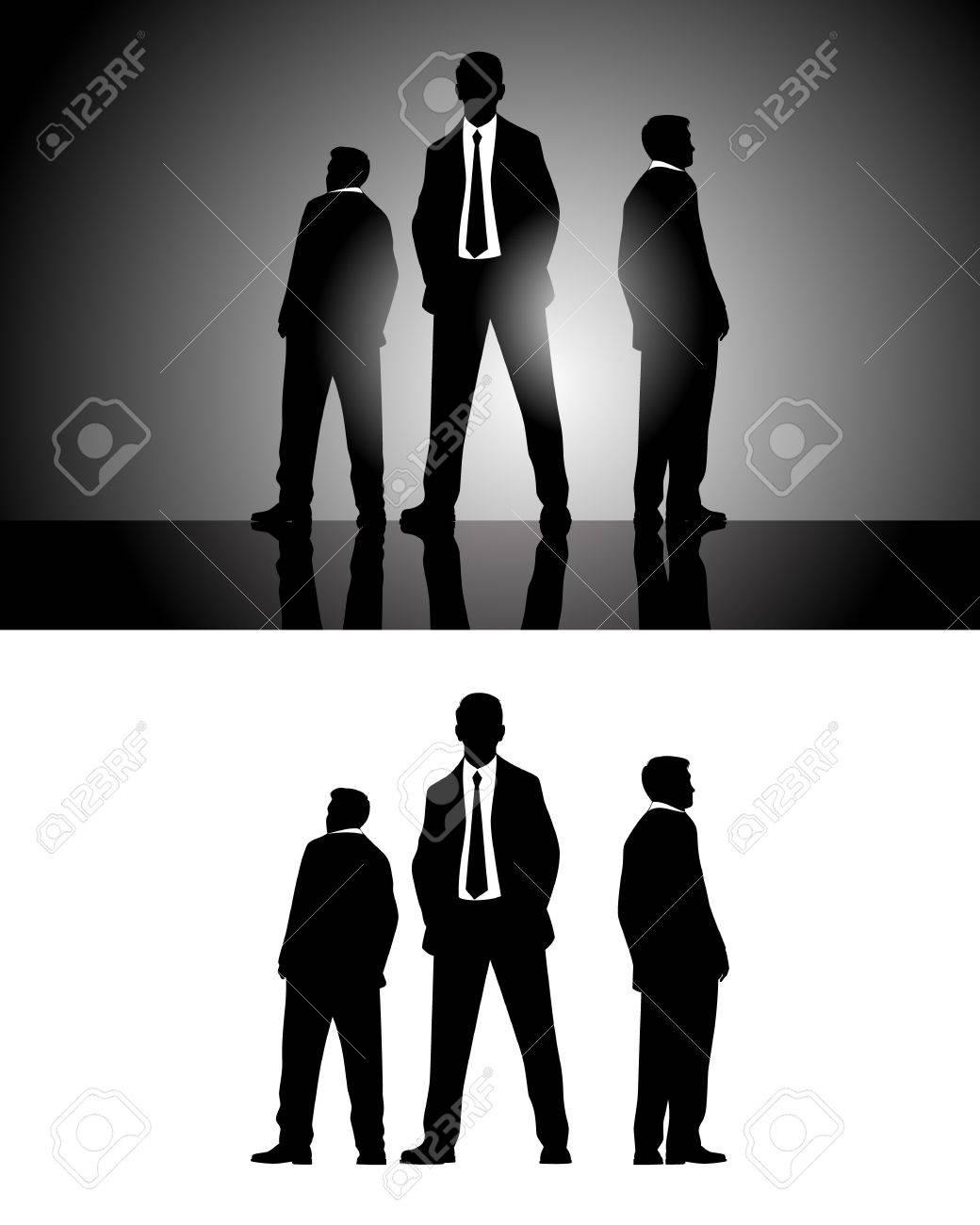 3 人のビジネスマンのシルエットのベクター イラストのイラスト素材
