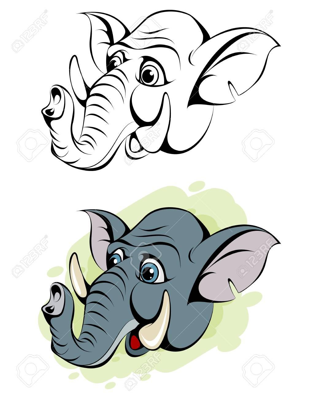 Vector illustration of cartoon head of an elephant - 94843112