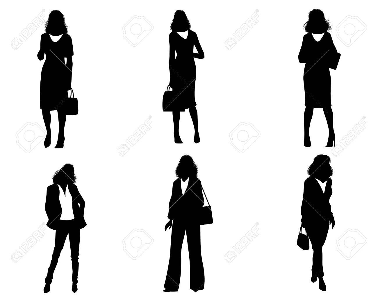 Vector illustration of silhouettes of modern women - 136888580