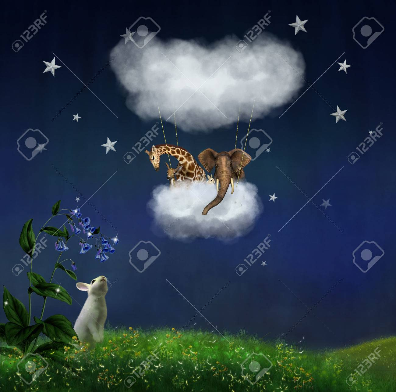 Animals floating in the clouds at night - 27612942
