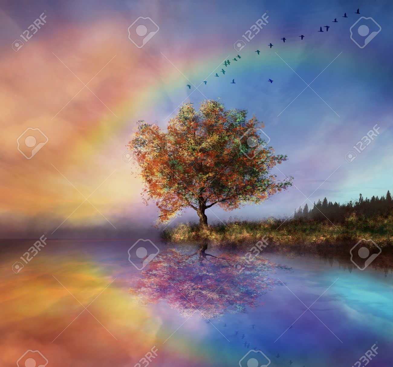 manipulated landscape with a flowered tree and rainbow - 27612944
