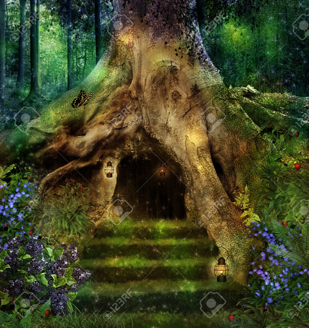 Superb Old Tree In The Forest With A Little House In Ists Roots Stock Photo    27612961