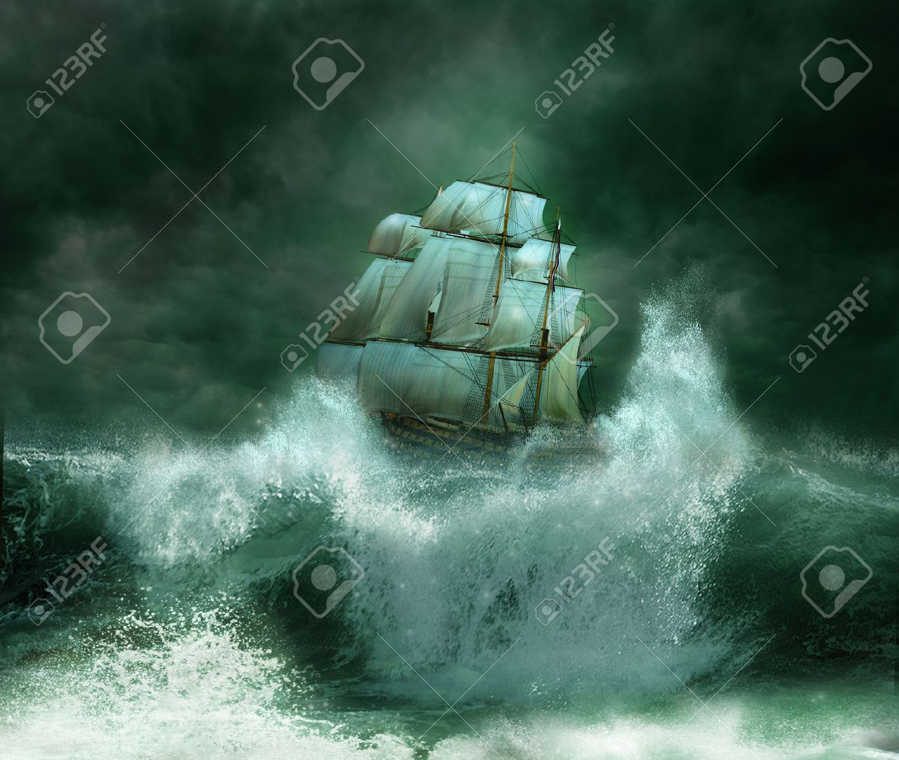 Old ship in a thunderstorm - 27612964