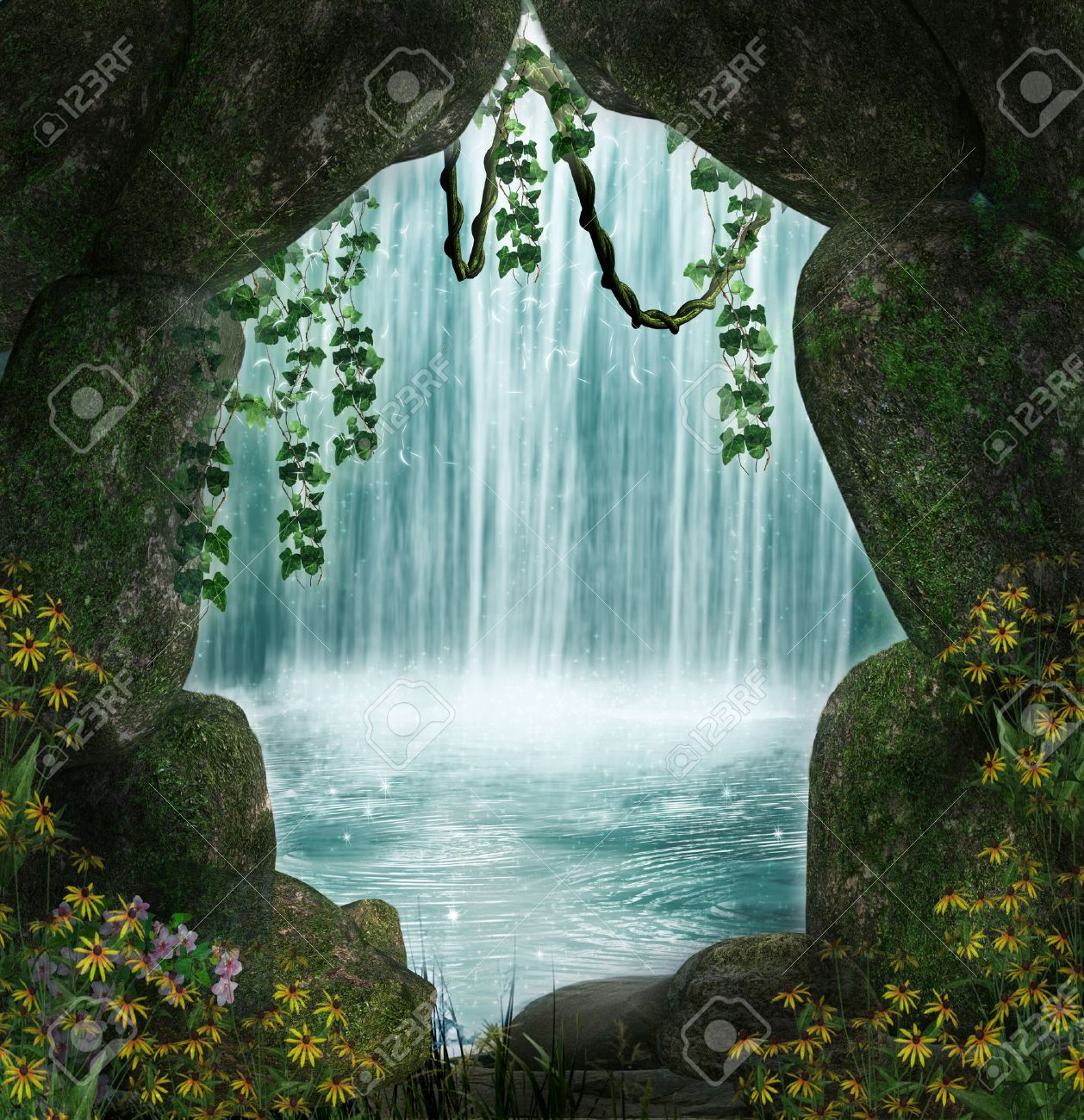 Fantastic cave and waterfall in the background - 27613546