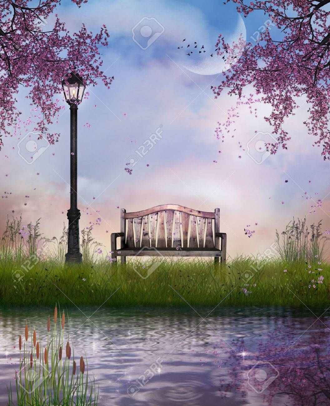 a bench and the river in spring time - 27613749