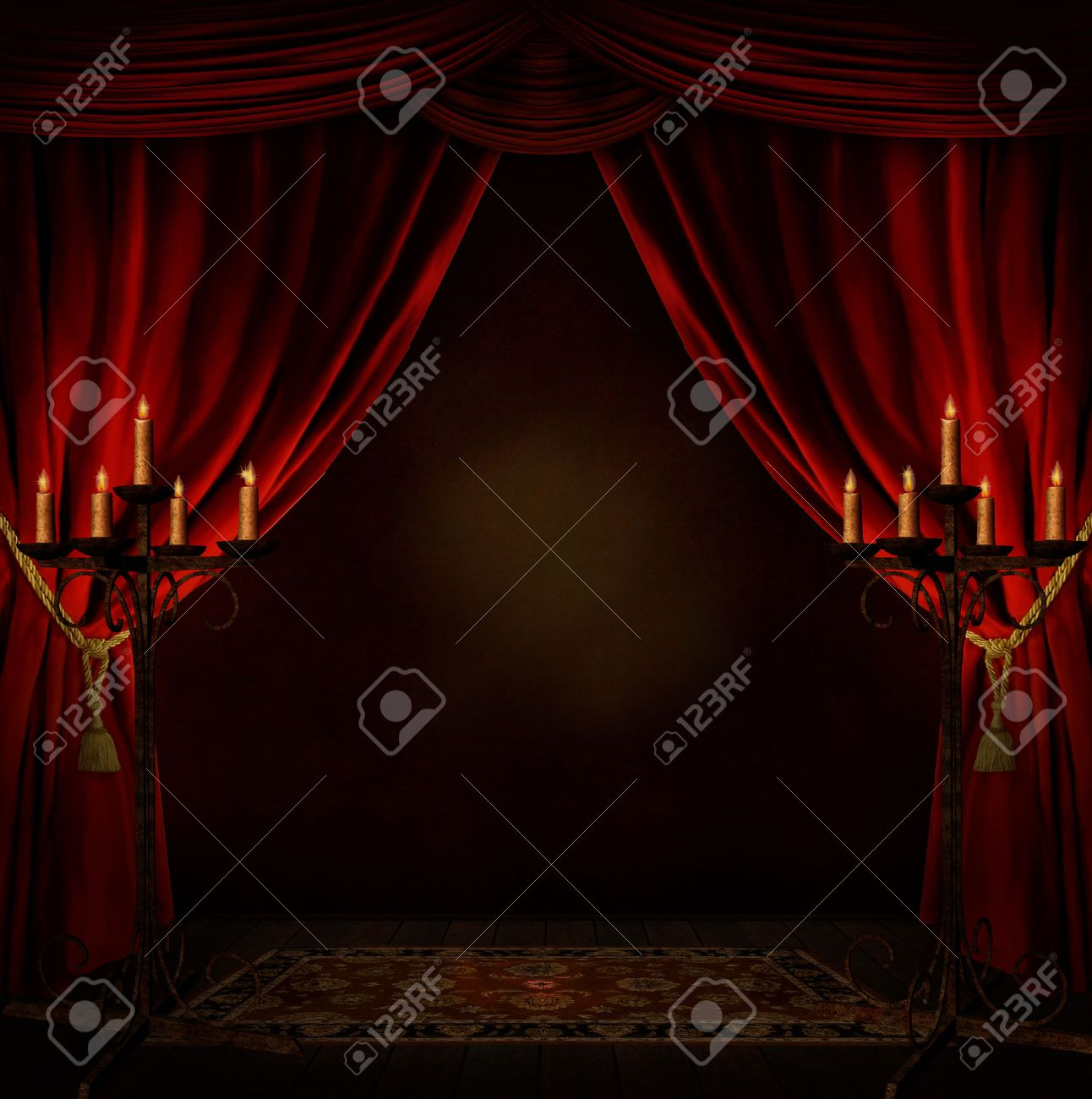creepy room with red courtains and candles - 27613775