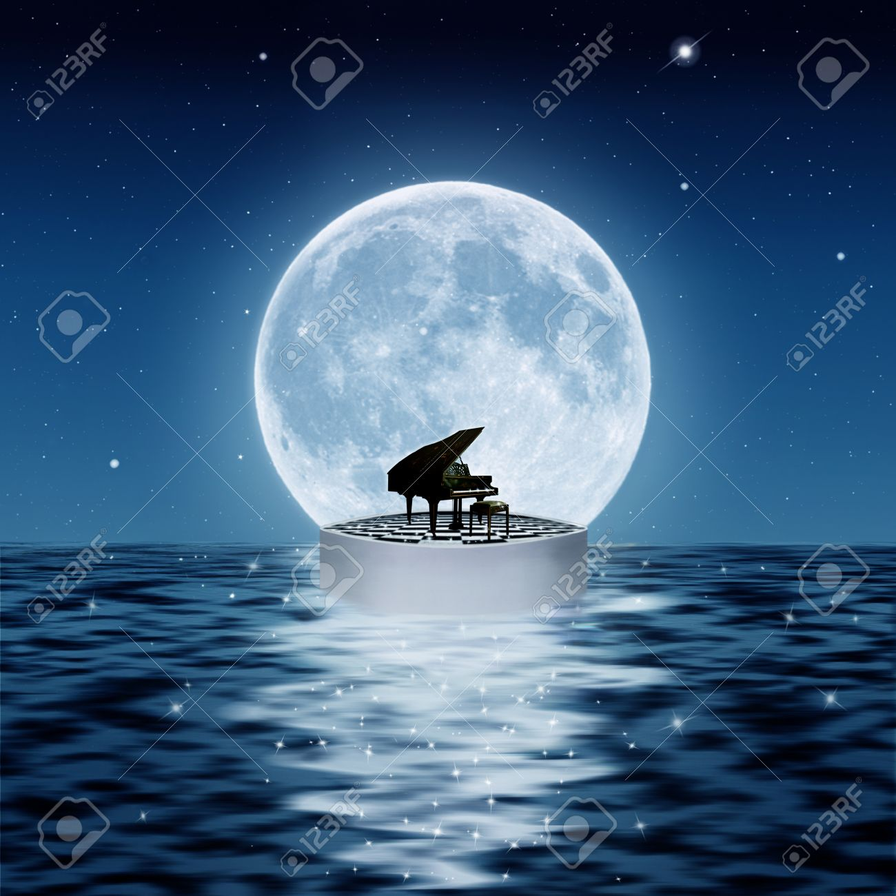 piano on a platform in the sea with a big full moon - 28036083