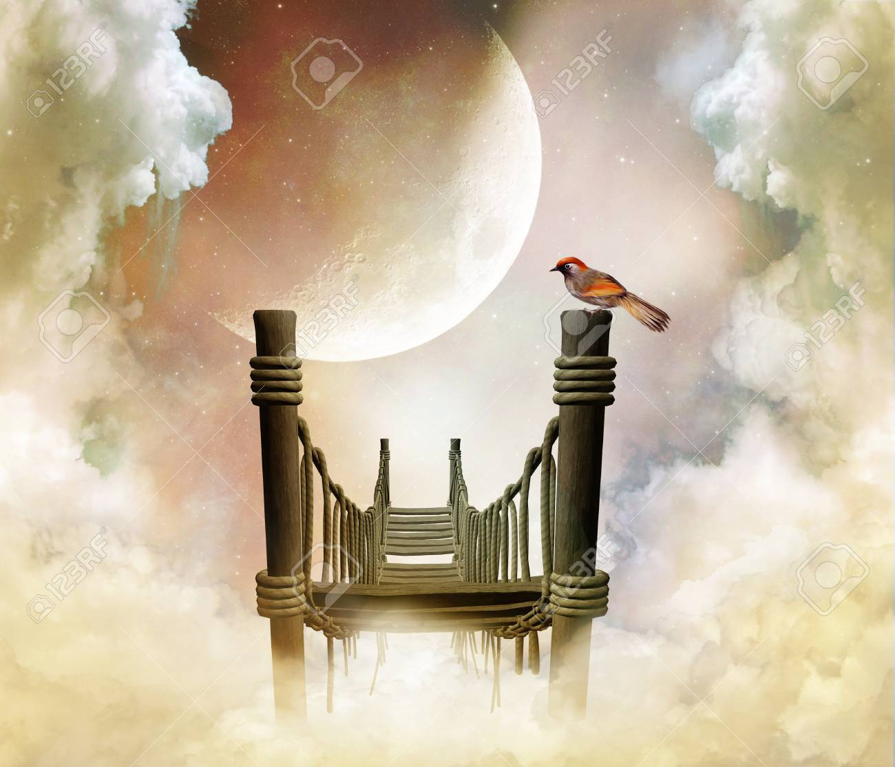 fantastic wooden bridge with a bird in the sky with a big moon - 28036089
