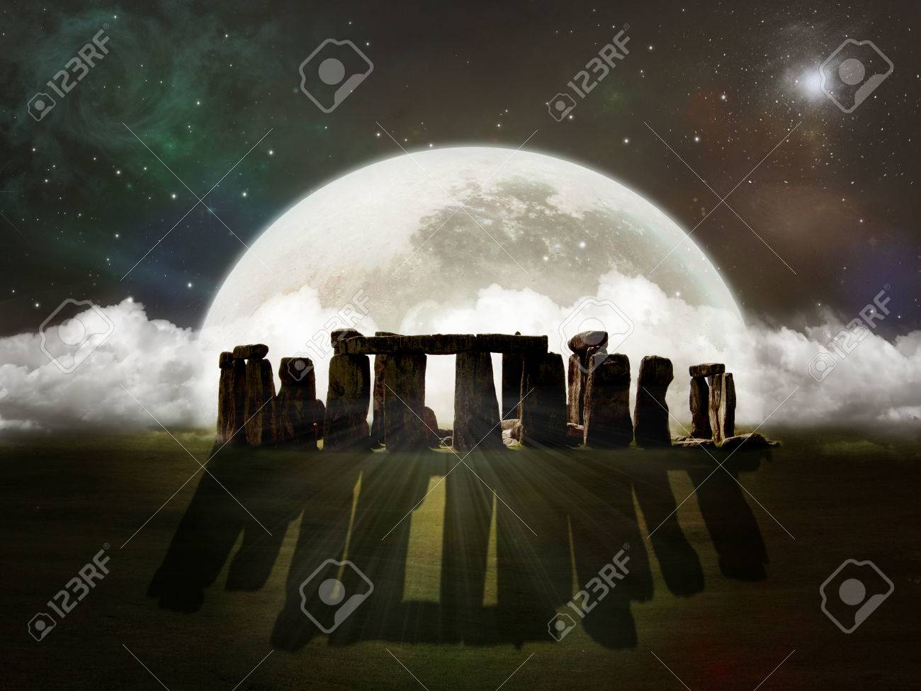 Photomanipulation of ruins of Stonehenge in a night with fantastic moon - 28036099