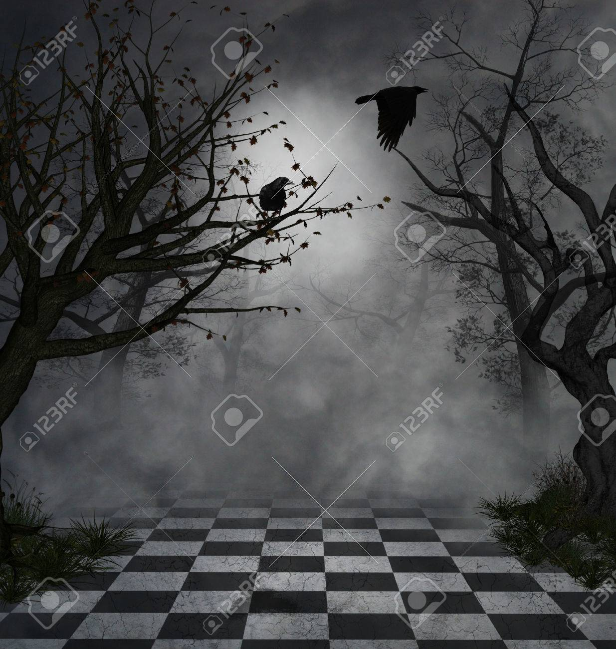 imaginary park with dead trees and crows flying at night - 27995348