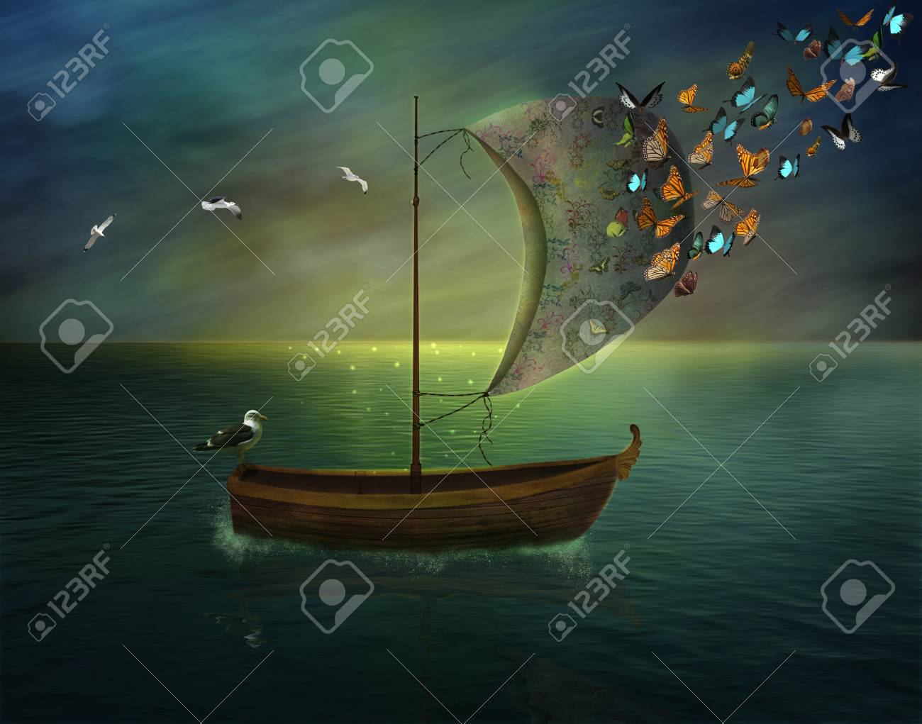 lonely boat sailing in a calm sea and butterflies - 28919272