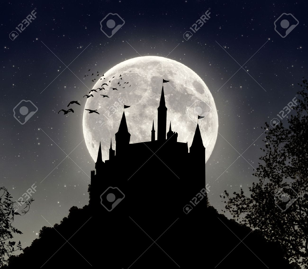 The shadow of a castle in a dark night with big full moon - 28919282