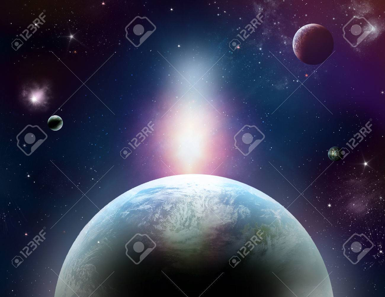 Fantastic cosmos with planets, stars and wonderful lights - 29235338