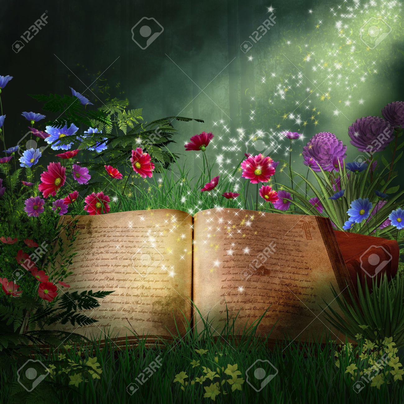 Livre Magique Dans Une Foret Fantastique