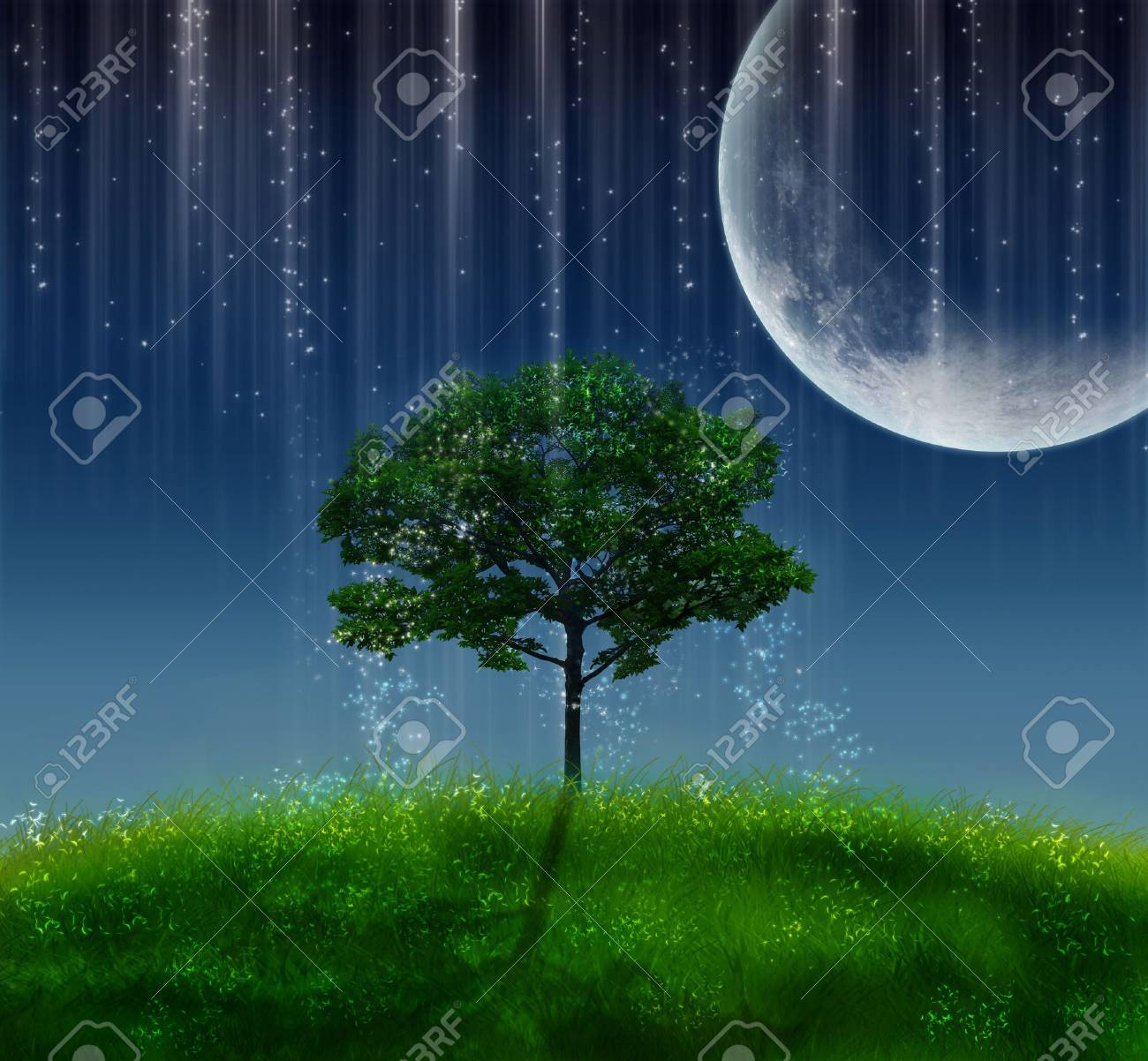 magic tree illuminated by a big moon at night - 30840762