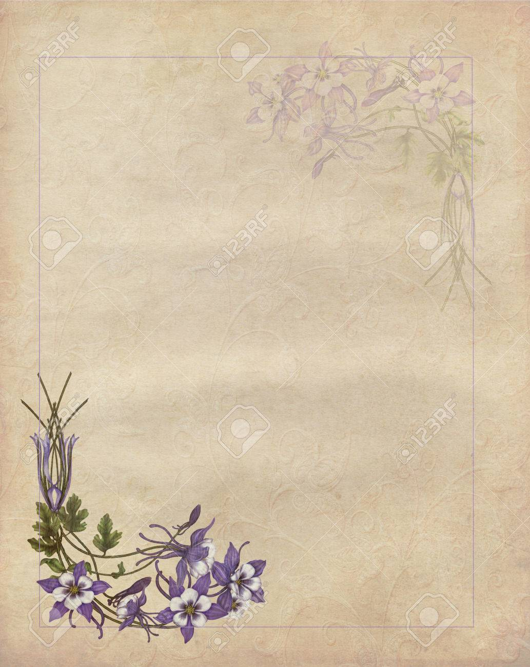 Romantic letter with flowers in vintage paper - 32091589