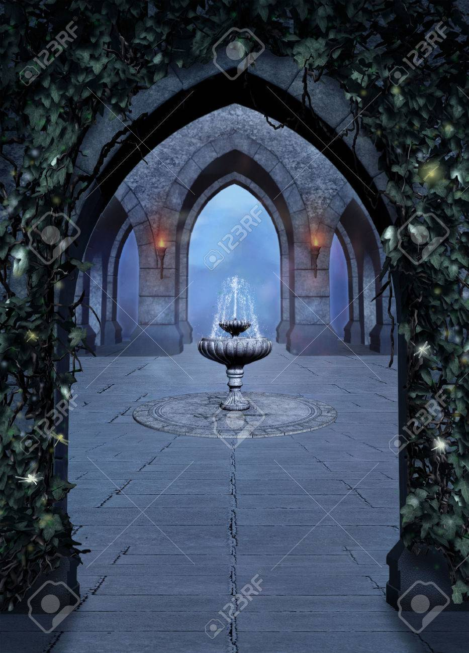Beautiful font in a medieval castle at night - 34938024