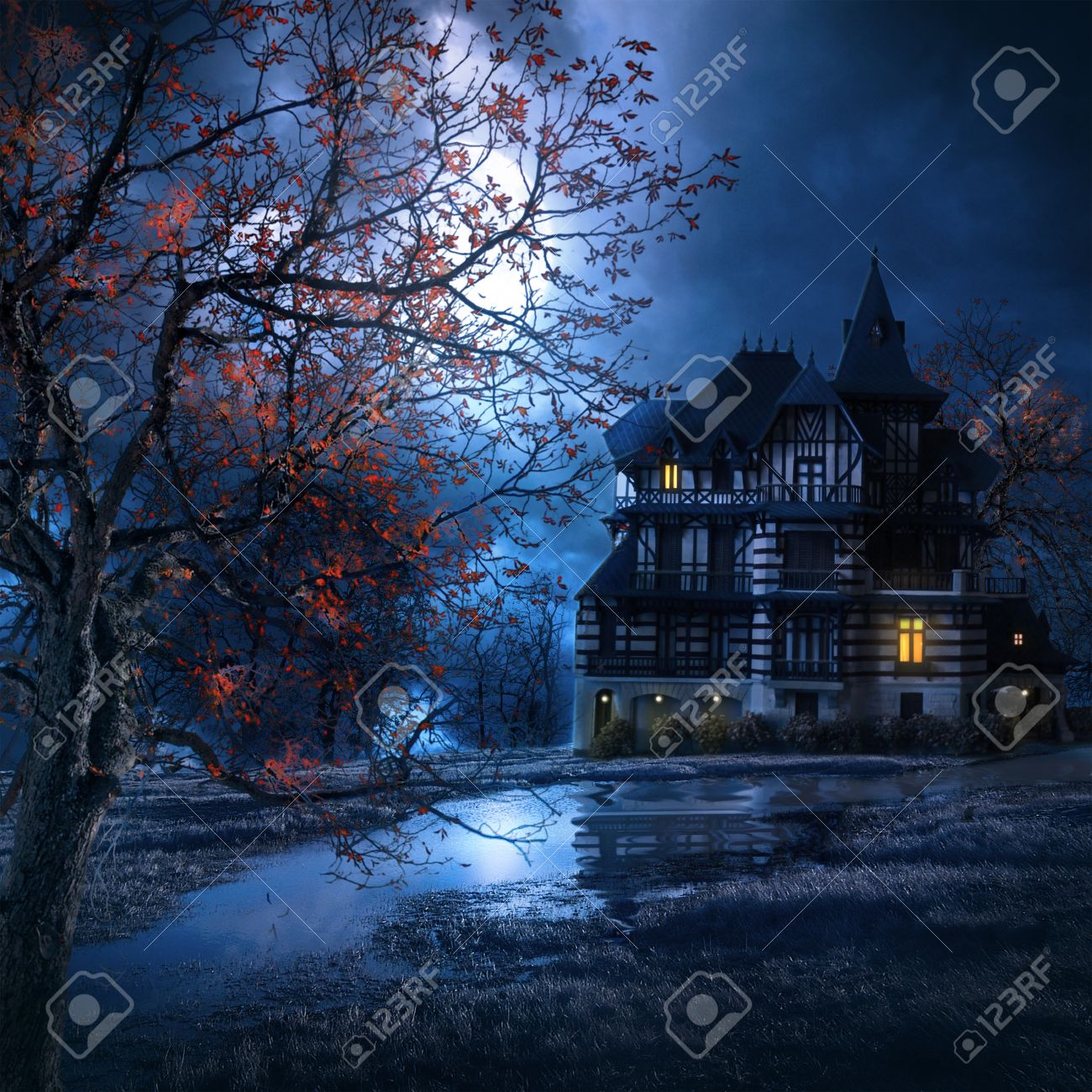 mysterious house in the night with the moon illuminating the scenery - 34935868