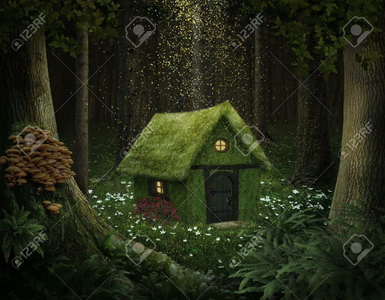 bosque encantado casita de musgo en un bosque encantado
