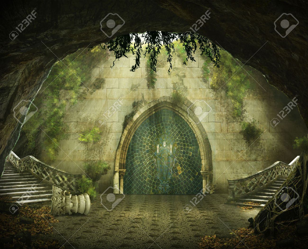 fantasy cave with a ruined castle inside, marble staircase and a painting - 40618973