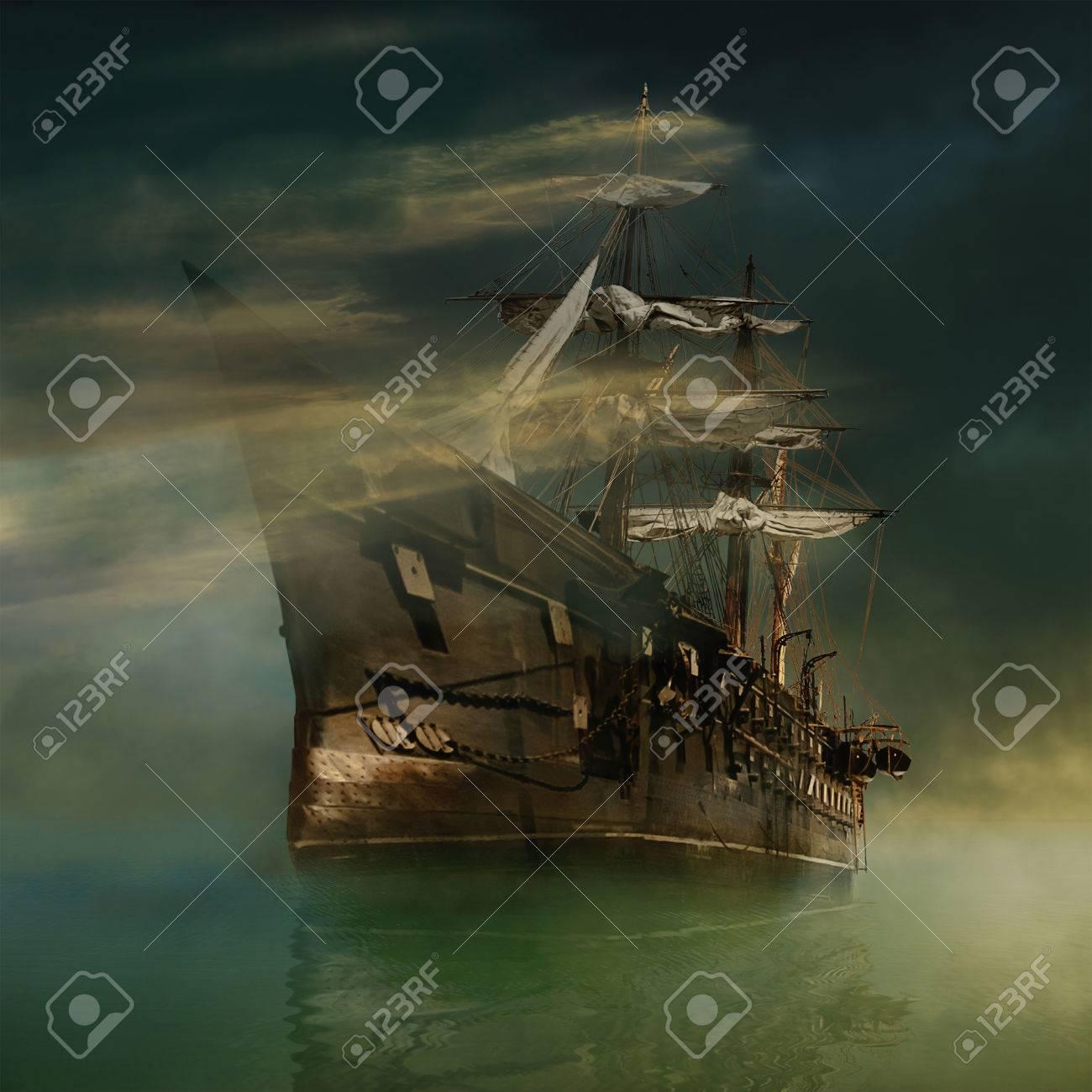 A phantasmagoric old ship sailing in calm waters - 40618976