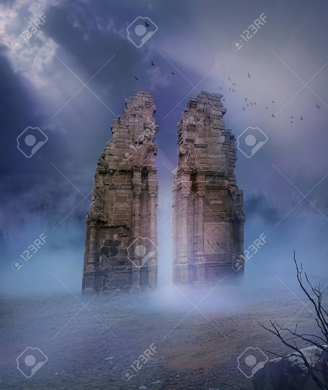 view of ruins of old temple in a desert illuminated with a ray of light - 45240589