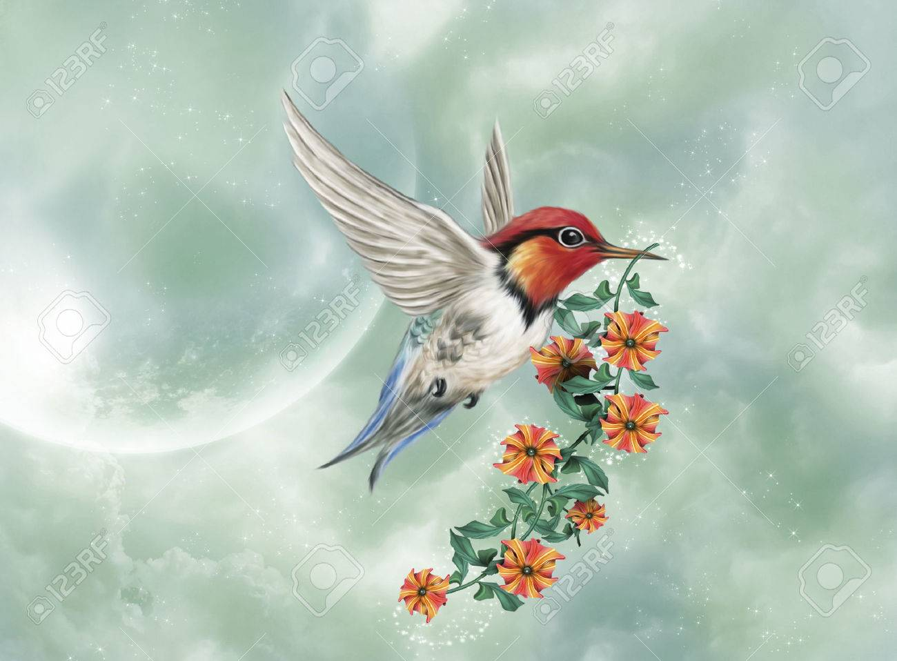 A little hummingbird is flying with a flowered branch - 46621952
