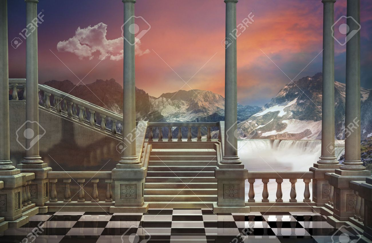View of a castle balcony and a beautiful landscape with mountains and waterfall - 46622081